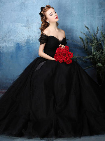 Chic A-line Ball Gowns Black Simple Tulle Modest Prom Dress Evening Gowns AM371