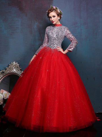 Chic A-line Ball Gowns Red High Neck Long Sleeve Beading Prom Dress Evening Gowns AM372