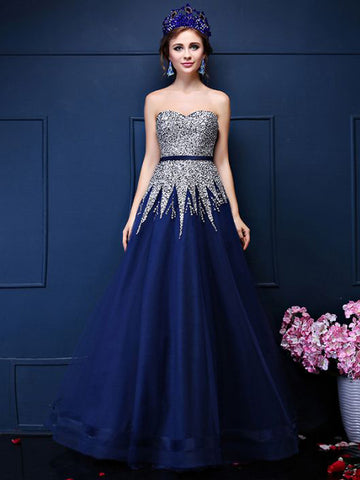 Chic A-line Sweetheart Dark Blue Tulle Beading Prom Dress Evening Gowns AM373
