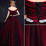 Chic A-line Off-the-shoulder Burgundy Black Tulle Simple Prom Dress Evening Gowns AM374