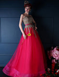 Chic A-line Sweetheart Tulle Beading Modest Prom Dress Evening Gowns AM376
