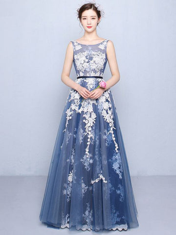 Chic A-line Blue Scoop Tulle Applique Modest Prom Dress Evening Gowns AM377
