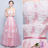 Chic A-line Strapless Pink Tulle Modest Applique Prom Dress Evening Gowns AM379