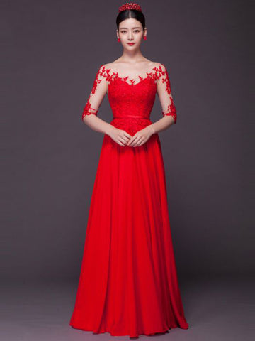 Chic A-line Scoop Red Chiffon Modest Applique Lace Prom Dress Evening Gowns AM381