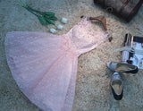 Chic A-Line Scoop Tulle Applique Pink Short Prom Dress Homecoming Dress AM384