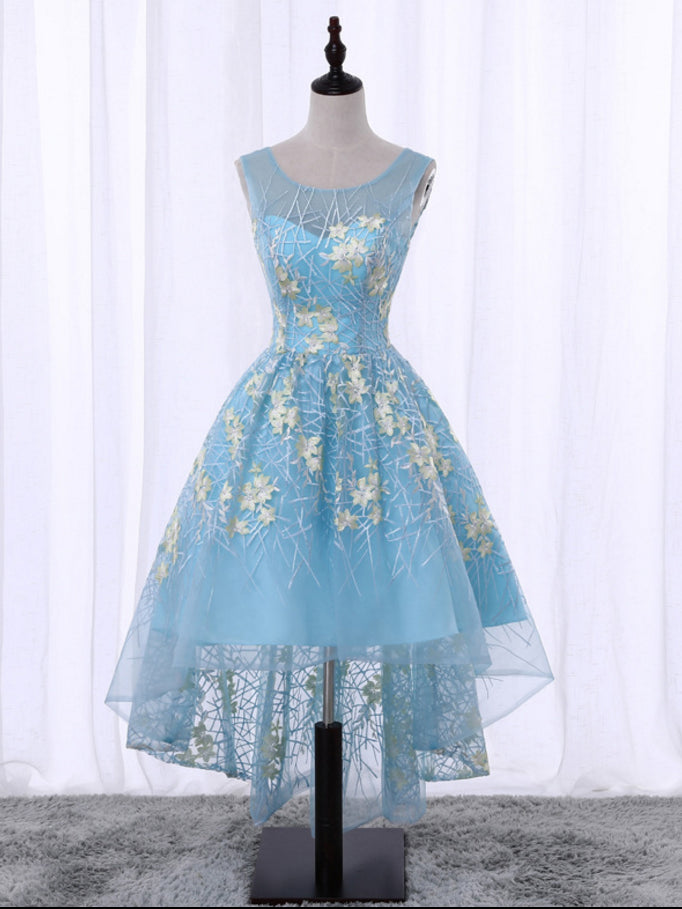 A-line Asymmetrical Scoop Light Sky Blue Tulle Short Prom Dress Homecoming Dress AM385