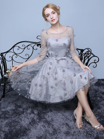 Chic A-line Scoop Silver Tulle 3/4 Sleeve Short Prom Dress Homecoming Dress AM386