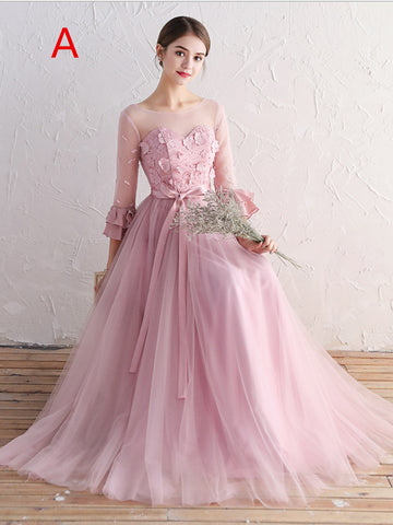 Chic A-line Scoop Pink Tulle Applique Modest Prom Dress Bridesmaid Dress AM388