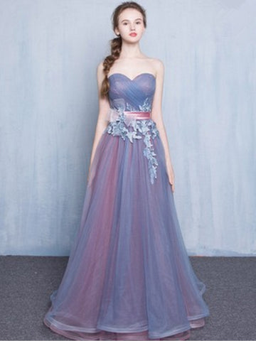 Chic A-line Sweetheart Blue Tulle Applique Modest Prom Dress Evening Dress AM389