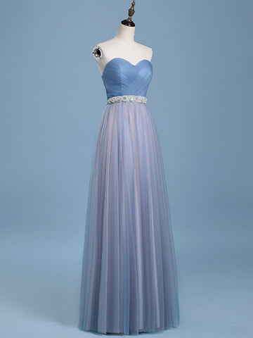 Chic A-line Sweetheart Blue Tulle Ruffles Modest Prom Dress Evening Dress AM390