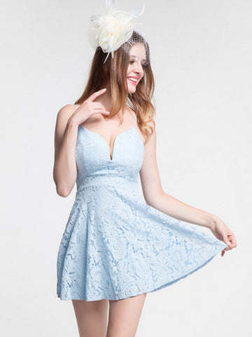 Chic A-line Spaghetti Straps Light Sky Blue Lace Short Prom Dress Homecoming Dress AM391