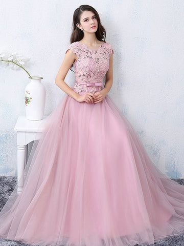 Chic A-line Scoop Pink Tulle Lace Modest Prom Dress Evening Dress AM396
