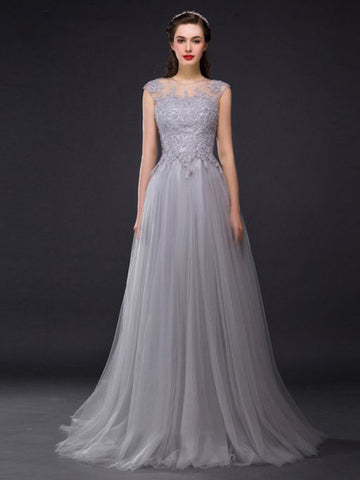 Chic A-line Scoop Silver Tulle Lace Modest Prom Dress Evening Dress AM397