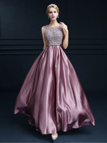 Chic A-line Scoop Pink Elastic Woven Satin Applique Modest Prom Dress Evening Dress AM400