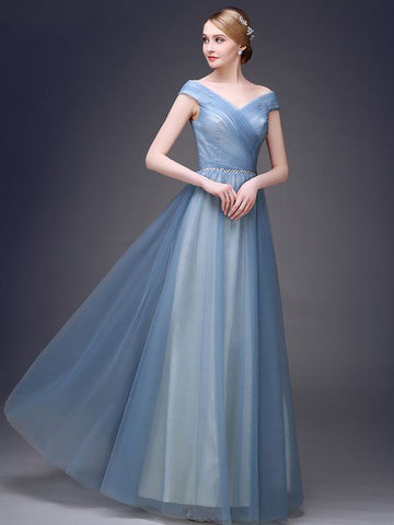 Chic A-line Off-the-shoulder Blue Tulle Simple Modest Prom Dress Evening Dress AM401