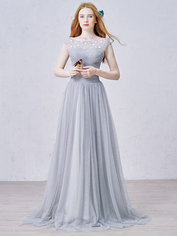 Chic A-line Bateau Gray Chiffon Ruffles Modest Prom Dress Evening Dress AM402