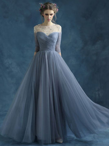 Chic A-line Scoop Blue Tulle Rhinestome Half Sleeve Modest Prom Dress Evening Dress AM403
