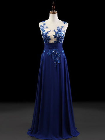 Chic A-line Scoop Royal Blue Chiffon Modest Prom Dress Evening Dress AM406