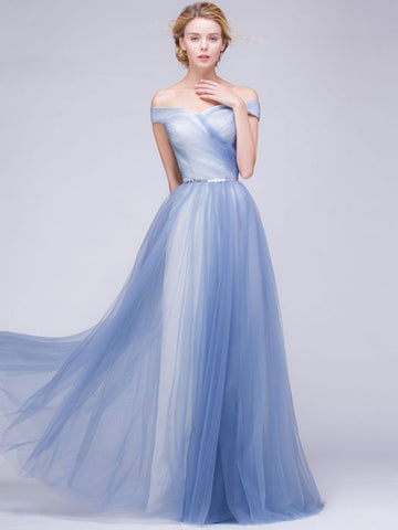Chic A-line Off-the-shoulder Blue Tulle Modest Prom Dress Evening Dress AM407