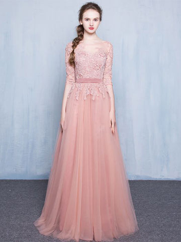 Chic A-line Bateau Pink Tulle Half Sleeve Lace Prom Dress Evening Dress AM411