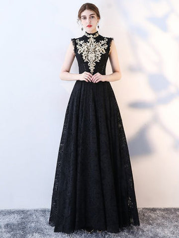 Chic A-line High Neck Black Tulle Lace Modest Prom Dress Evening Dress AM412