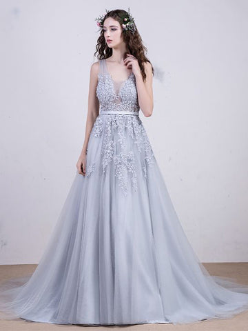 Chic A-line V-neck Silver Tulle Applique Modest Prom Dress Evening Dress AM413