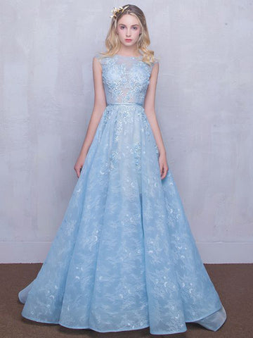 Chic A-line Bateau Blue Tulle Lace Modest Prom Dress Evening Dress AM414