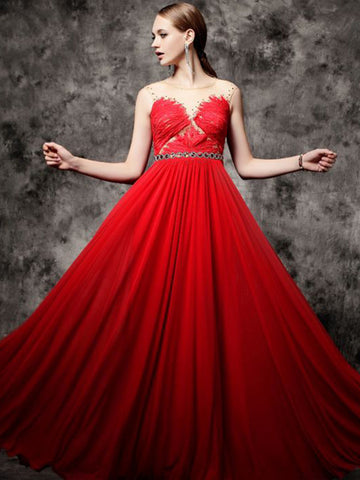 Chic A-line Scoop Chiffon Scoop Lace Red Modest Prom Dress Evening Dress AM419