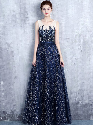 Chic A-line Scoop Tulle Dark Navy Rhinestone Modest Prom Dress Evening Dress AM420