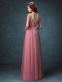 Chic A-line Bateau Tulle Pink Applique Modest Prom Dress Evening Dress AM421