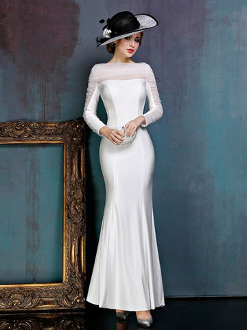 Chic Trumpet/Mermaide Bateau Elastic Woven Satin White Simple Modest Prom Dress Evening Dress AM422