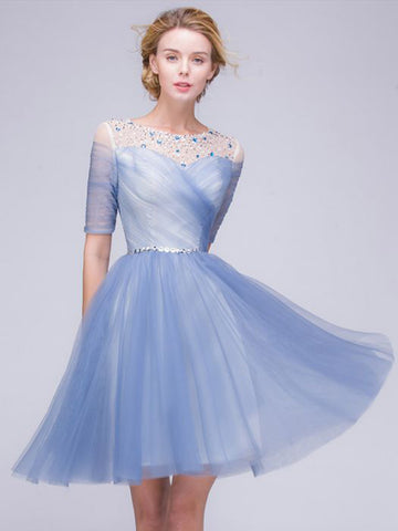 Chic A-line Scoop Blue Tulle Half Sleeve Beading Short Prom Dress Homecoming Dress AM423