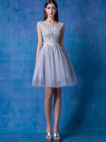 Chic A-line Scoop Gray Tulle Applique Short Prom Dress Homecoming Dress AM424