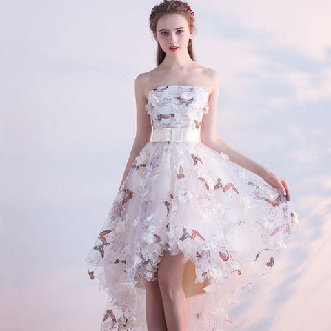 Chic A-line Strapless Tulle Applique Asymmetrical Prom Dress Homecoming Dress AM425