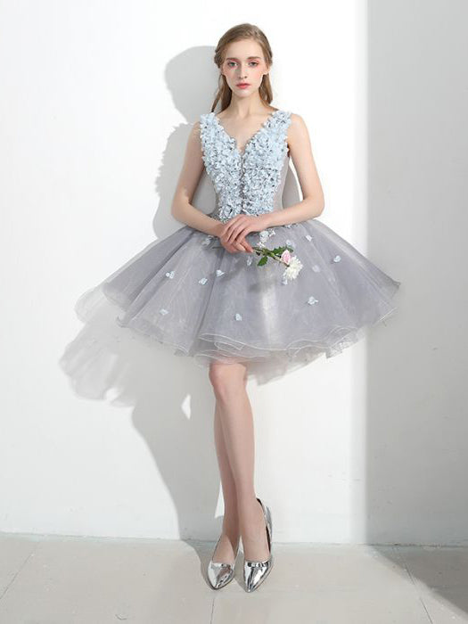 Chic A-line V-neck Organza Applique Short Prom Dress Homecoming Dress AM426