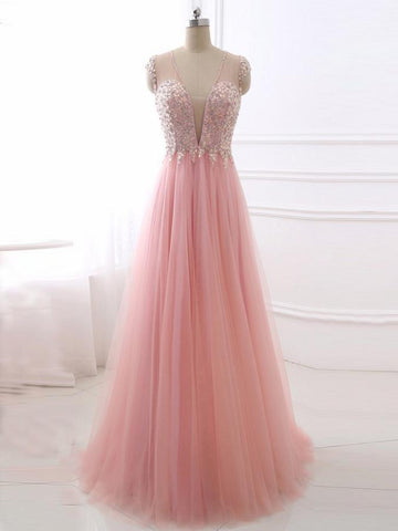 Chic A-line Deep V Pink Tulle Beading Modest Prom Dress Evening Dress AM428