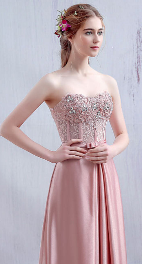 a line strapless pink elastic