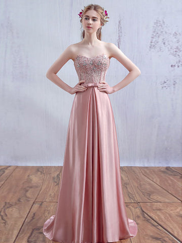 Chic A-line Sweetheart Pink Elastic Woven Satin Lace Modest Prom Dress Evening Dress AM430