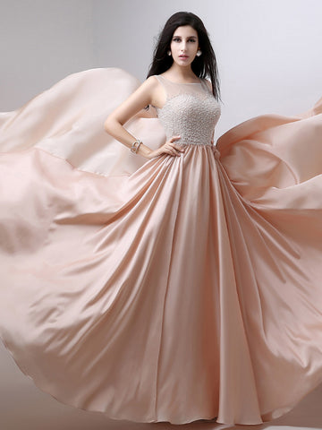 Chic A-line Scoop Pearl Pink Chiffon Beading Modest Prom Dress Evening Dress AM431