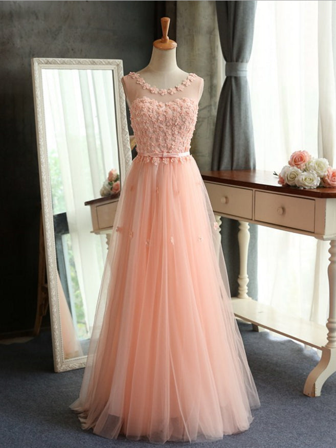 Chic A-line Scoop Pearl Pink Tulle Applique Modest Prom Dress Evening Dress AM433