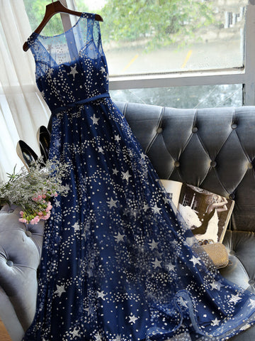 Chic A-line Scoop Dark Navy Tulle Rhinestone Modest Prom Dress Evening Dress AM435