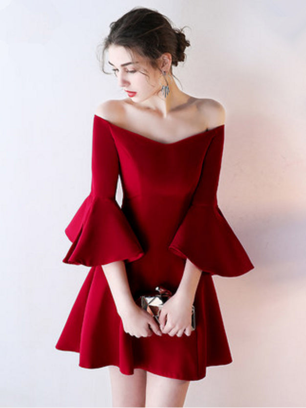 45ee8e1831 Chic A-line Off-the-shoulder Burgundy Satin Simple Short Prom Dress Ho –  AmyProm