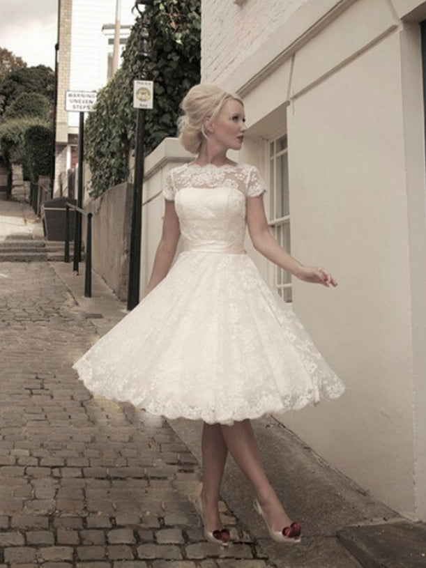 Chic A Line Bateau Short Sleeve Ivory Tulle Lace Knee Length Wedding Dress Am440