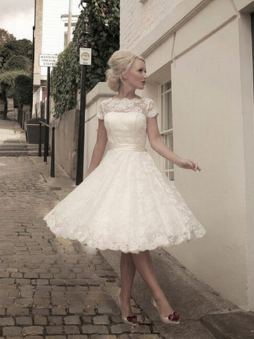 Chic A-line Bateau Short Sleeve Ivory Tulle Lace Knee-length Wedding Dress AM440