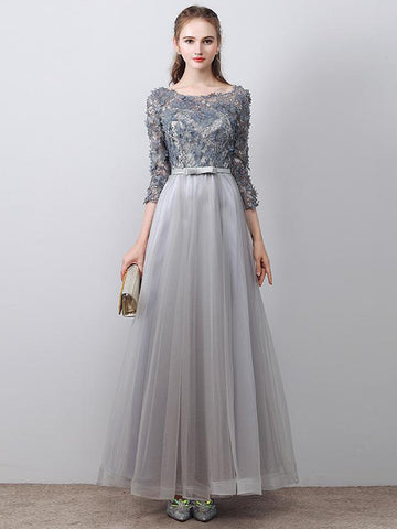Chic A-line Scoop Sliver Tulle Applique Modest Prom Dress Evening Dress AM443