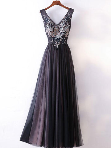 Chic A-line V-neck Black Tulle Applique Modest Prom Dress Evening Dress AM444