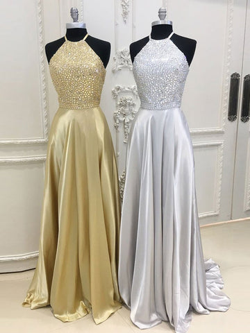 Chic A-line Spaghetti Straps Gold Elastic Woven Satin Rhinestone Modest Prom Dress Evening Dress AM445