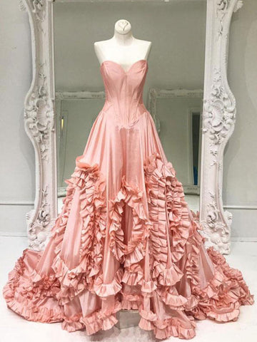 Chic A-line Sweetheart Pearl Pink Taffeta Simple Modest Prom Dress Evening Dress AM446