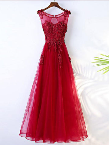 Chic A-line Scoop Red Tulle Applique Modest Prom Dress Evening Dress AM447