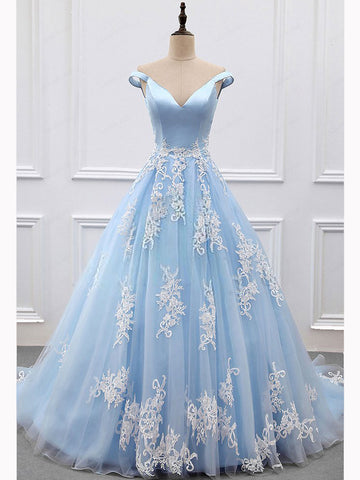 Chic A-line V-neck Light Sky Blue Tulle Applique Modest Prom Dress Evening Dress AM448